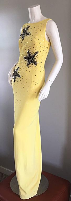 Stunning Gai Mattiolo Couture Vintage Yellow Sequined ' Starfish ' Gown / Dress 3