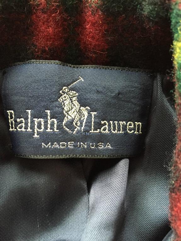 Classic Vintage Ralph Lauren ' Blue Label ' Tartan Plaid Belted Wool Car Coat For Sale 3