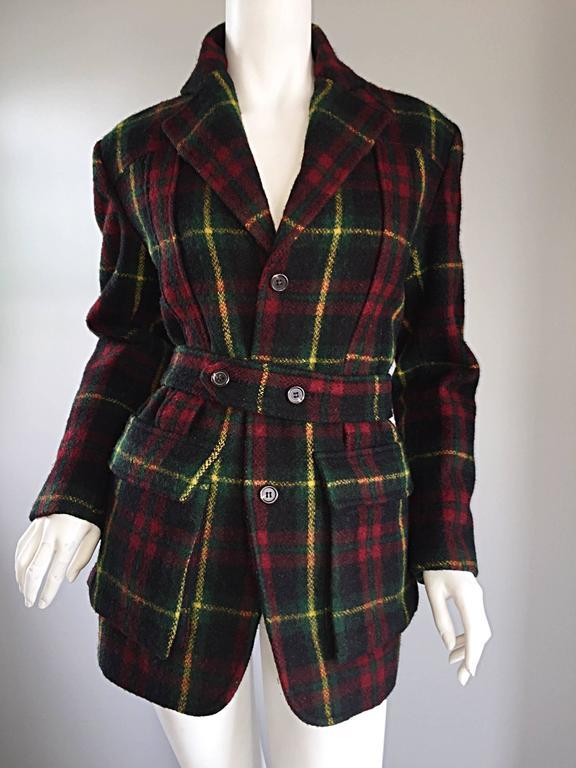 Classic Vintage Ralph Lauren ' Blue Label ' Tartan Plaid Belted Wool Car Coat For Sale 2
