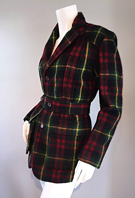 Classic Vintage Ralph Lauren ' Blue Label ' Tartan Plaid Belted Wool Car Coat For Sale 4