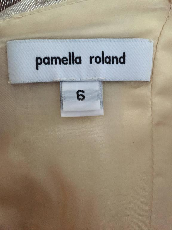 New Pamella Roland Size 6 Gold Ombre Metallic One Shoulder Grecian Silk Dress For Sale 4