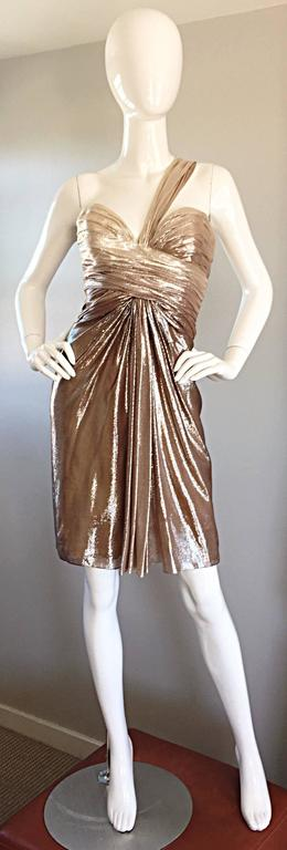 New Pamella Roland Size 6 Gold Ombre Metallic One Shoulder Grecian Silk Dress For Sale 3