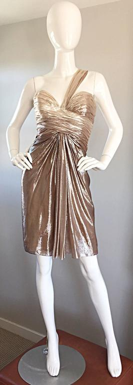 Women's New Pamella Roland Size 6 Gold Ombre Metallic One Shoulder Grecian Silk Dress For Sale