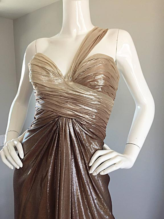 New Pamella Roland Size 6 Gold Ombre Metallic One Shoulder Grecian Silk Dress For Sale 1