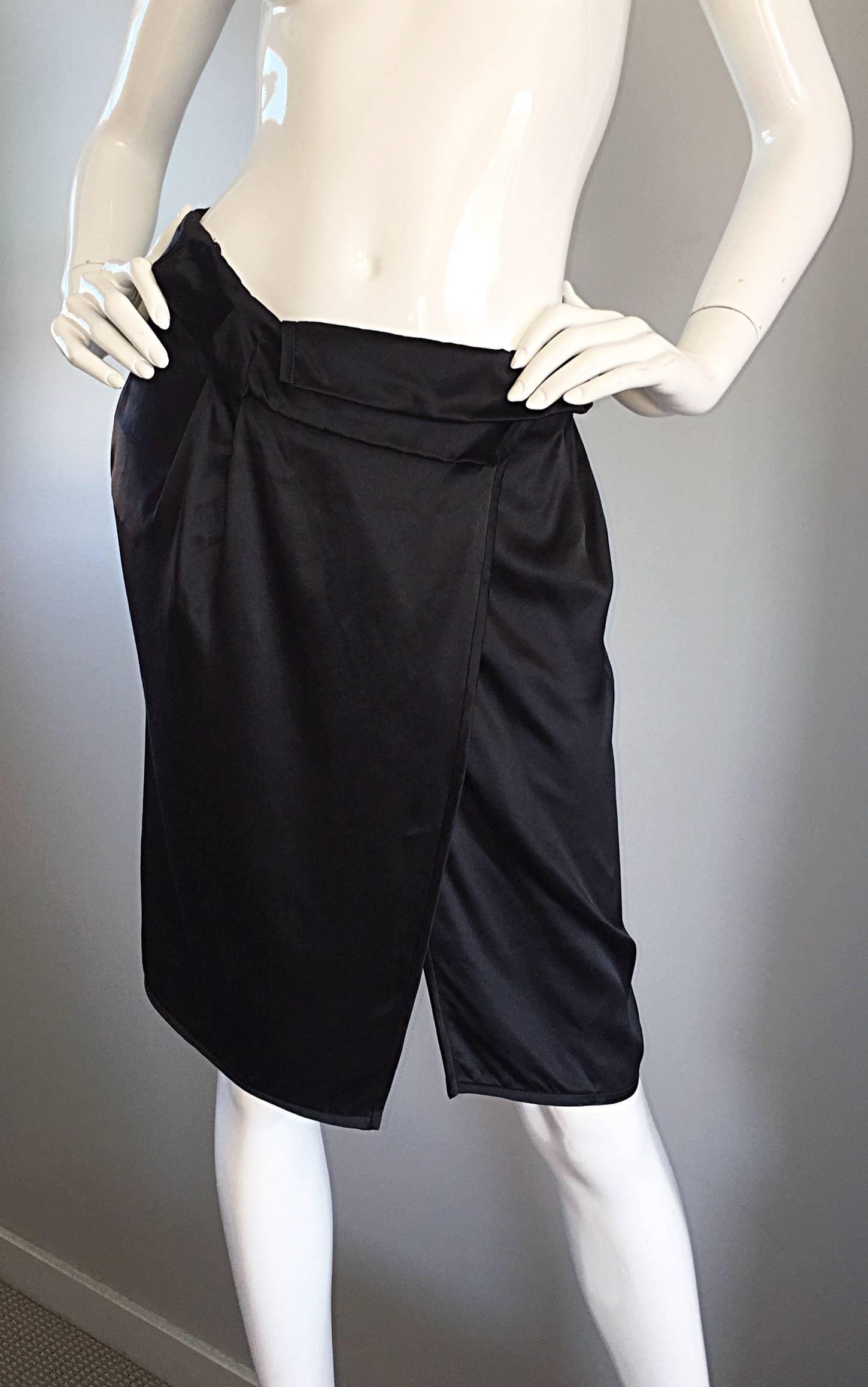 e062c777c65f Brand New Miu Miu Black Silk Asymmetrical Wrap Skirt BNWT For Sale at  1stdibs
