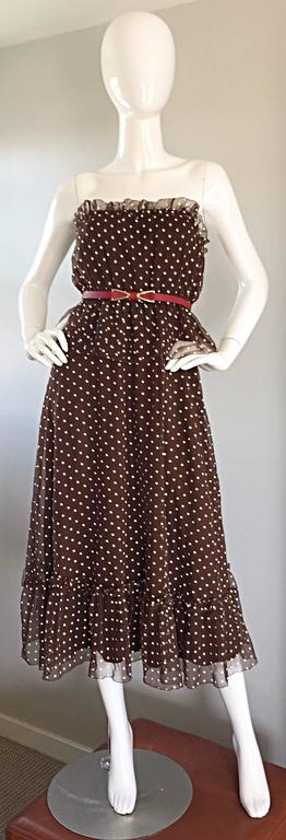 Chic vintage (late 1970s early 1980s) PAT RICHARDS for BULLOCKS WILSHIRE brown and white polka dot dress, with original detachable red 'wishbone' leather belt! Features a chiffon ruffled bust, hem, with a peplum at waist. Can be worn with straps, or