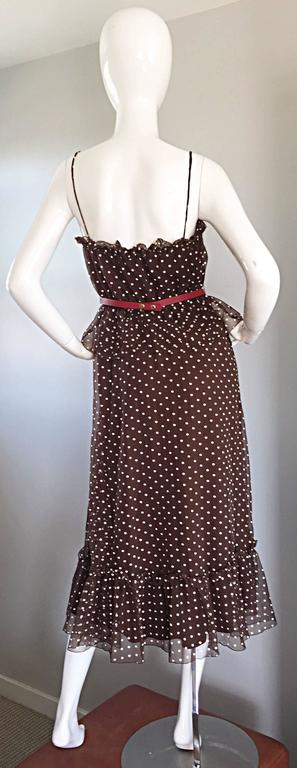 Vintage Pat Richards for Bullocks Wilshire Brown & White Polka Dot Belted Dress  In Excellent Condition In Chicago, IL