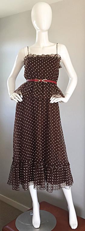 Black Vintage Pat Richards for Bullocks Wilshire Brown & White Polka Dot Belted Dress
