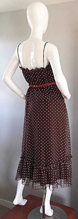 Vintage Pat Richards for Bullocks Wilshire Brown & White Polka Dot Belted Dress  2