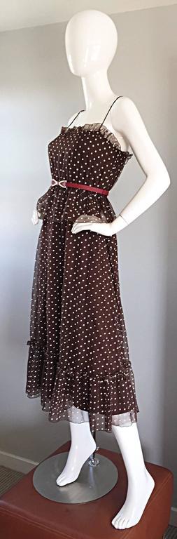 Women's Vintage Pat Richards for Bullocks Wilshire Brown & White Polka Dot Belted Dress