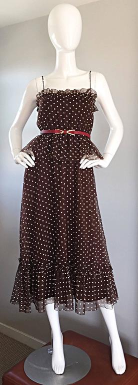Vintage Pat Richards for Bullocks Wilshire Brown & White Polka Dot Belted Dress  1