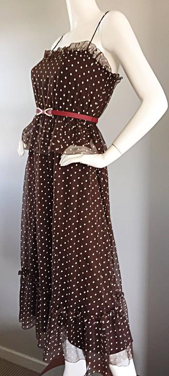 Vintage Pat Richards for Bullocks Wilshire Brown & White Polka Dot Belted Dress  3