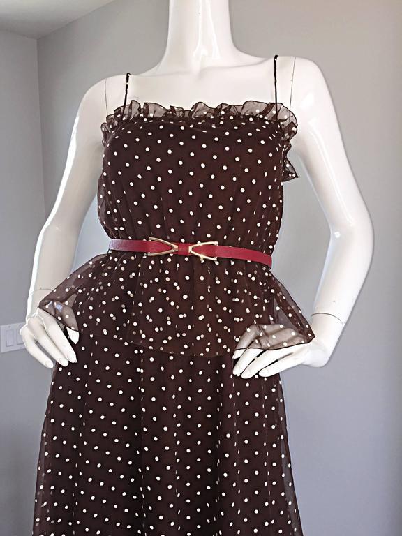 Vintage Pat Richards for Bullocks Wilshire Brown & White Polka Dot Belted Dress  4