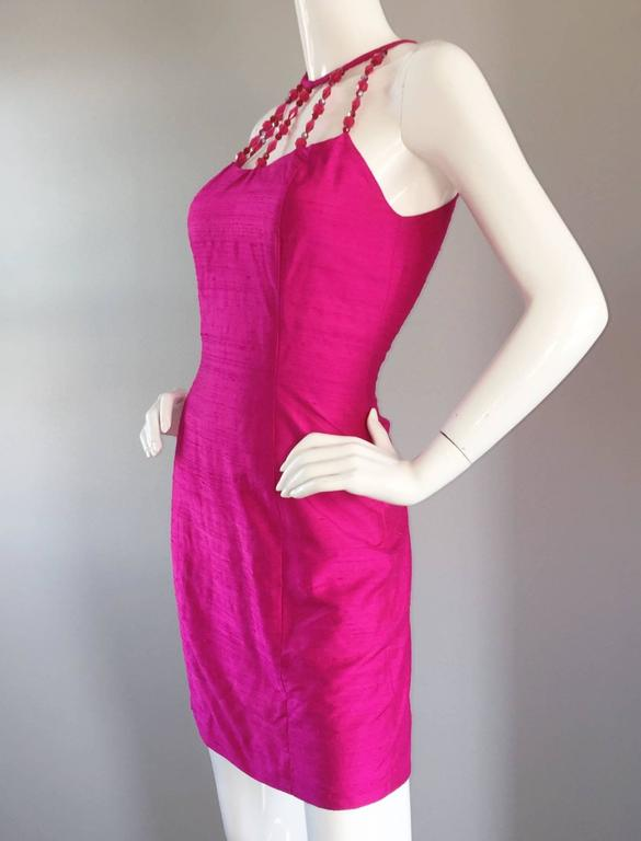 Sexy Vintage Nicole Miller 1990s Hot Pink Fuchsia Bodycon Silk Beaded Cage Dress 4