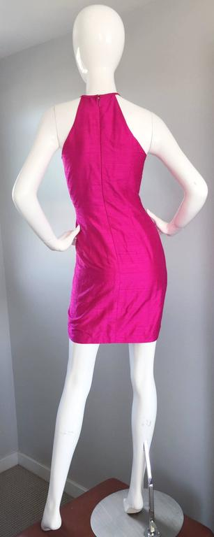 Sexy Vintage Nicole Miller 1990s Hot Pink Fuchsia Bodycon Silk Beaded Cage Dress 5