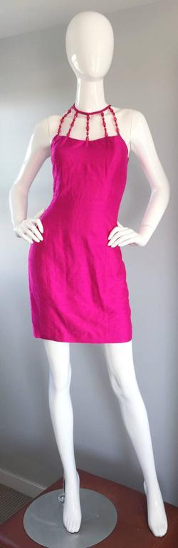 Sexy Vintage Nicole Miller 1990s Hot Pink Fuchsia Bodycon Silk Beaded Cage Dress 2