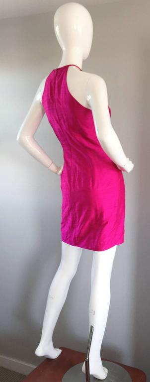 Sexy Vintage Nicole Miller 1990s Hot Pink Fuchsia Bodycon Silk Beaded Cage Dress 7