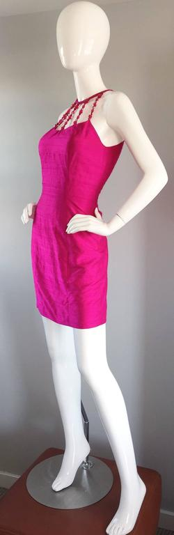 Sexy Vintage Nicole Miller 1990s Hot Pink Fuchsia Bodycon Silk Beaded Cage Dress 6