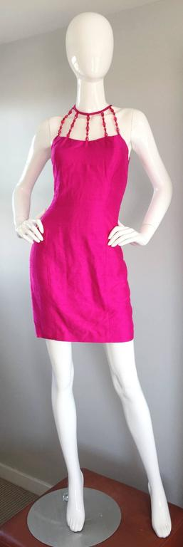 Sexy Vintage Nicole Miller 1990s Hot Pink Fuchsia Bodycon Silk Beaded Cage Dress 8