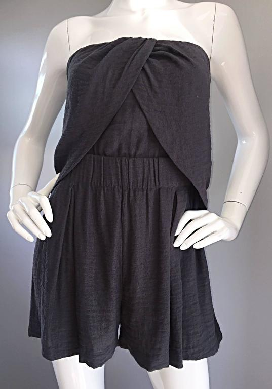 New Elizabeth and James Charcoal Gray Draped Romper Playsuit / Onesie  5