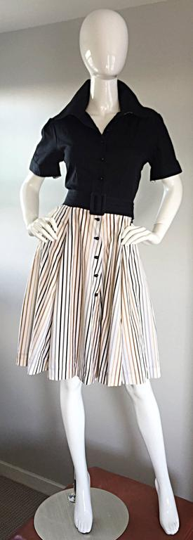 Chic vintage AL'S ATTIRE of SAN FRANCISCO Custom Made 1990s does 1950s rockabilly dress! Features a black textured cotton bodice, with a soft cotton pinstripe full skirt, with colors of tan, beige and gray. Buttons up the bodice. Original detachable