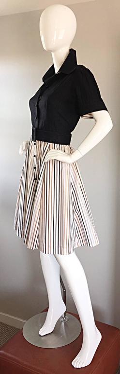 Al's Attire 1990s does 1950s Vintage Black Rockabilly Pinstripe Shirt Dress 3