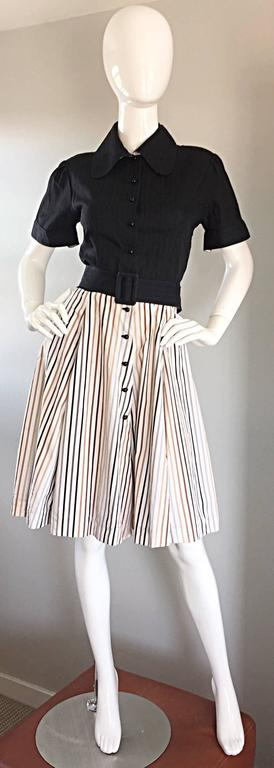 Al's Attire 1990s does 1950s Vintage Black Rockabilly Pinstripe Shirt Dress In Excellent Condition For Sale In San Francisco, CA