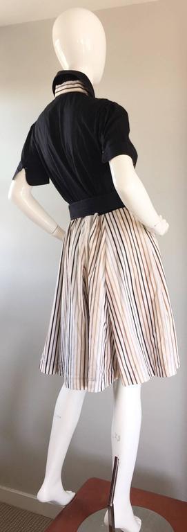 Al's Attire 1990s does 1950s Vintage Black Rockabilly Pinstripe Shirt Dress 7
