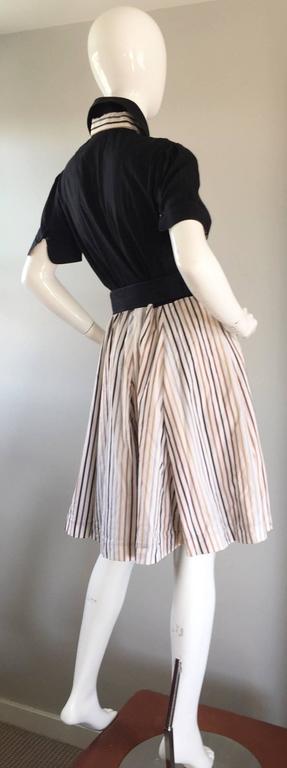 Al's Attire 1990s does 1950s Vintage Black Rockabilly Pinstripe Shirt Dress 5