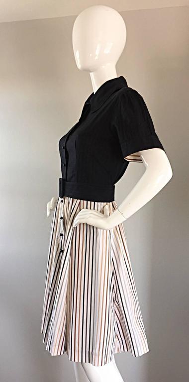 Al's Attire 1990s does 1950s Vintage Black Rockabilly Pinstripe Shirt Dress 6