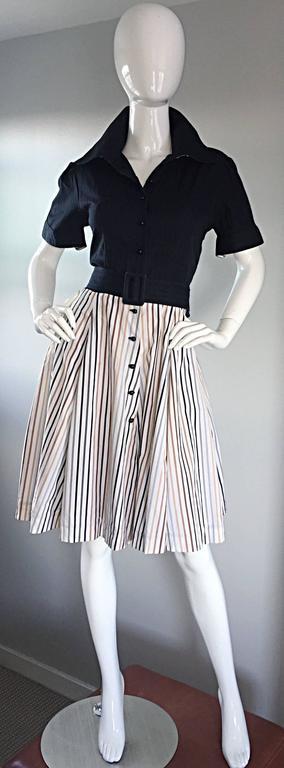Al's Attire 1990s does 1950s Vintage Black Rockabilly Pinstripe Shirt Dress 8