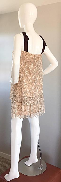 1960s Ann Barry Vintage Chantilly Lace Taupe + Brown A - Line Shift Tiered Dress For Sale 2