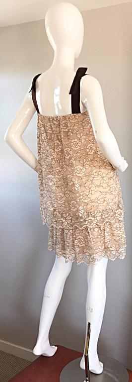 Women's 1960s Ann Barry Vintage Chantilly Lace Taupe + Brown A - Line Shift Tiered Dress For Sale