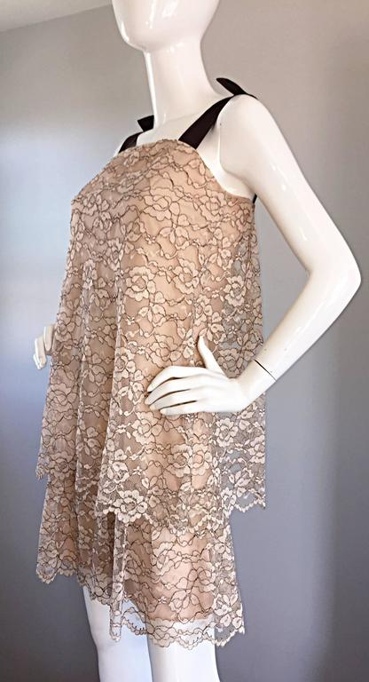 1960s Ann Barry Vintage Chantilly Lace Taupe + Brown A - Line Shift Tiered Dress For Sale 1