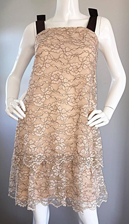 1960s Ann Barry Vintage Chantilly Lace Taupe + Brown A - Line Shift Tiered Dress In Excellent Condition For Sale In Chicago, IL