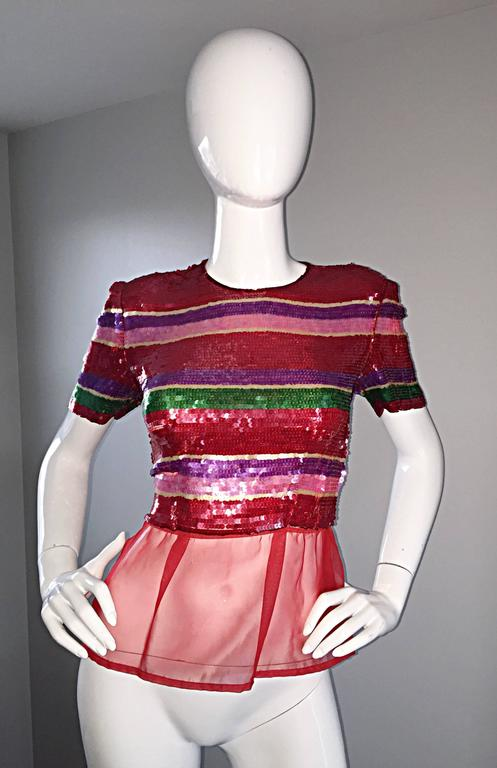 Red Vintage Victor Costa For Neiman Marcus Colorful Sequin Chiffon Peplum Crop Top For Sale