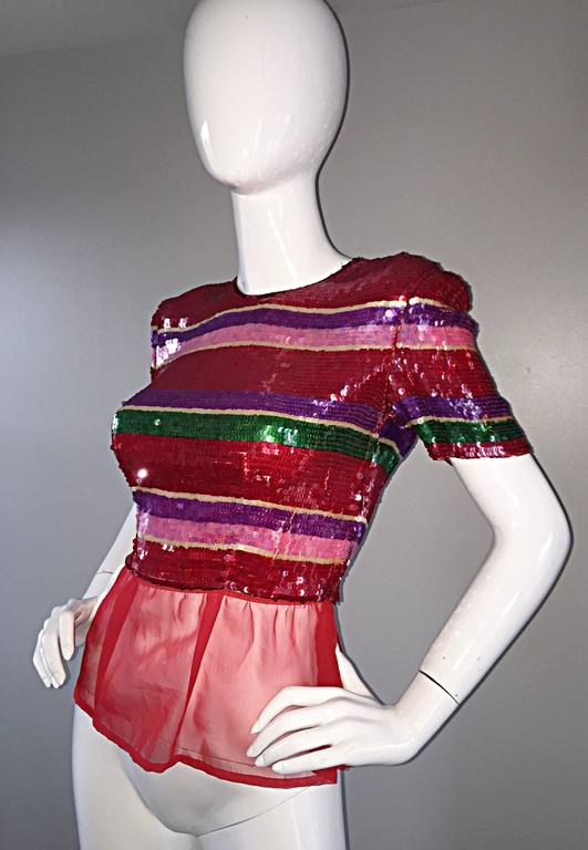 Vintage Victor Costa For Neiman Marcus Colorful Sequin Chiffon Peplum Crop Top For Sale 3