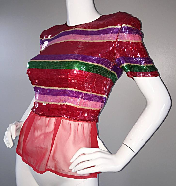 Vintage Victor Costa For Neiman Marcus Colorful Sequin Chiffon Peplum Crop Top In Excellent Condition For Sale In San Francisco, CA