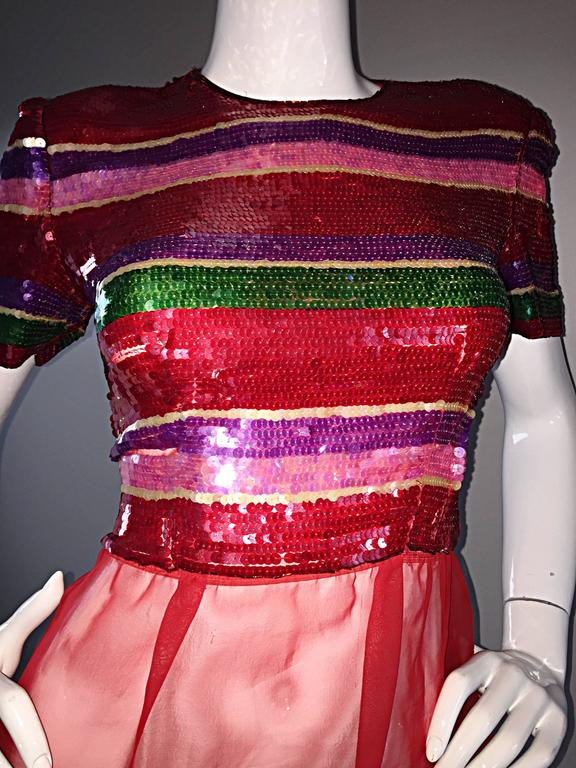 Vintage Victor Costa For Neiman Marcus Colorful Sequin Chiffon Peplum Crop Top For Sale 1