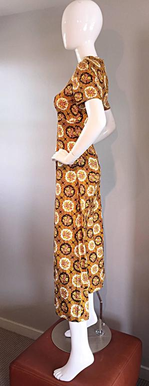 Vintage Joseph Magnin 1970s Boho Cotton Flower 70s Bohemian Ethnic Midi Dress For Sale 1