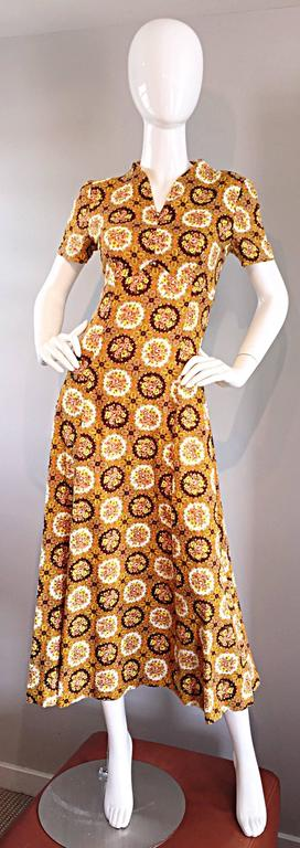 Vintage Joseph Magnin 1970s Boho Cotton Flower 70s Bohemian Ethnic Midi Dress 8