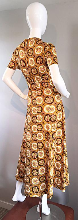 Vintage Joseph Magnin 1970s Boho Cotton Flower 70s Bohemian Ethnic Midi Dress 10