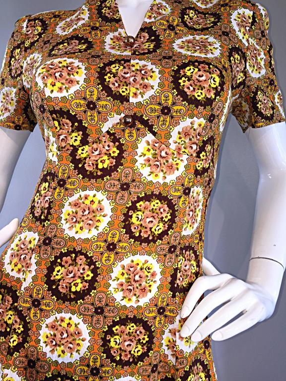 Women's Vintage Joseph Magnin 1970s Boho Cotton Flower 70s Bohemian Ethnic Midi Dress For Sale