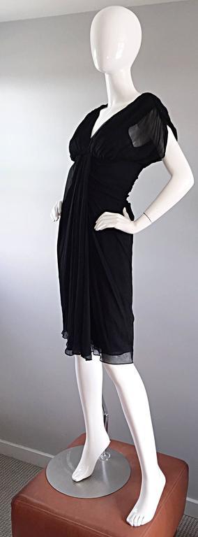 Women's Diane Von Furstenberg Black Silk Chiffon Grecian Dress w/ Open Back Size 0  For Sale