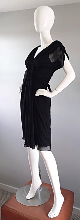 Diane Von Furstenberg Black Silk Chiffon Grecian Dress w/ Open Back Size 0  For Sale 2