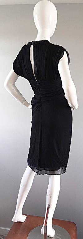 Diane Von Furstenberg Black Silk Chiffon Grecian Dress w/ Open Back Size 0  For Sale 3