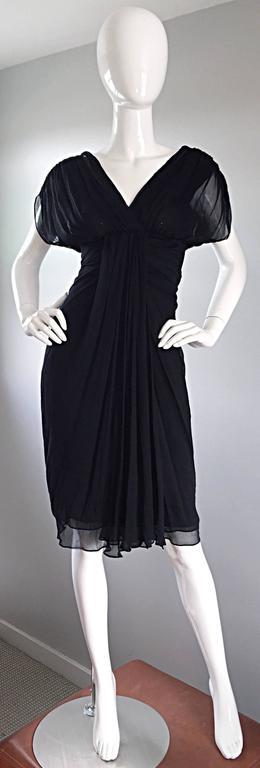 Diane Von Furstenberg Black Silk Chiffon Grecian Dress w/ Open Back Size 0  For Sale 4