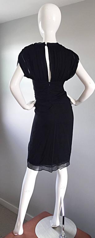 Diane Von Furstenberg Black Silk Chiffon Grecian Dress w/ Open Back Size 0  In Excellent Condition For Sale In San Francisco, CA