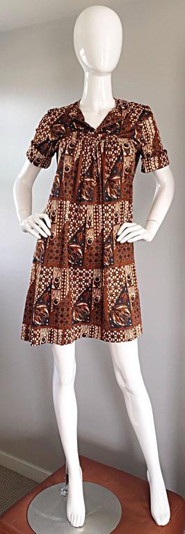 Brown 1960s Joseph Magnin Vintage Tribal Print Ethnic A - Line Trapeze Babydoll Dress For Sale