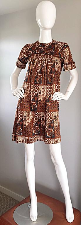 1960s Joseph Magnin Vintage Tribal Print Ethnic A - Line Trapeze Babydoll Dress For Sale 3